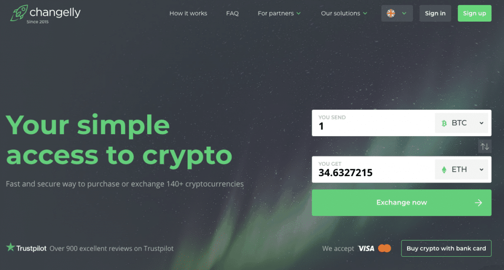 Homepage di Changelly
